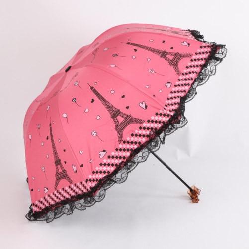sweet princess lace umbrella women cute eiffel tower print umbrellas