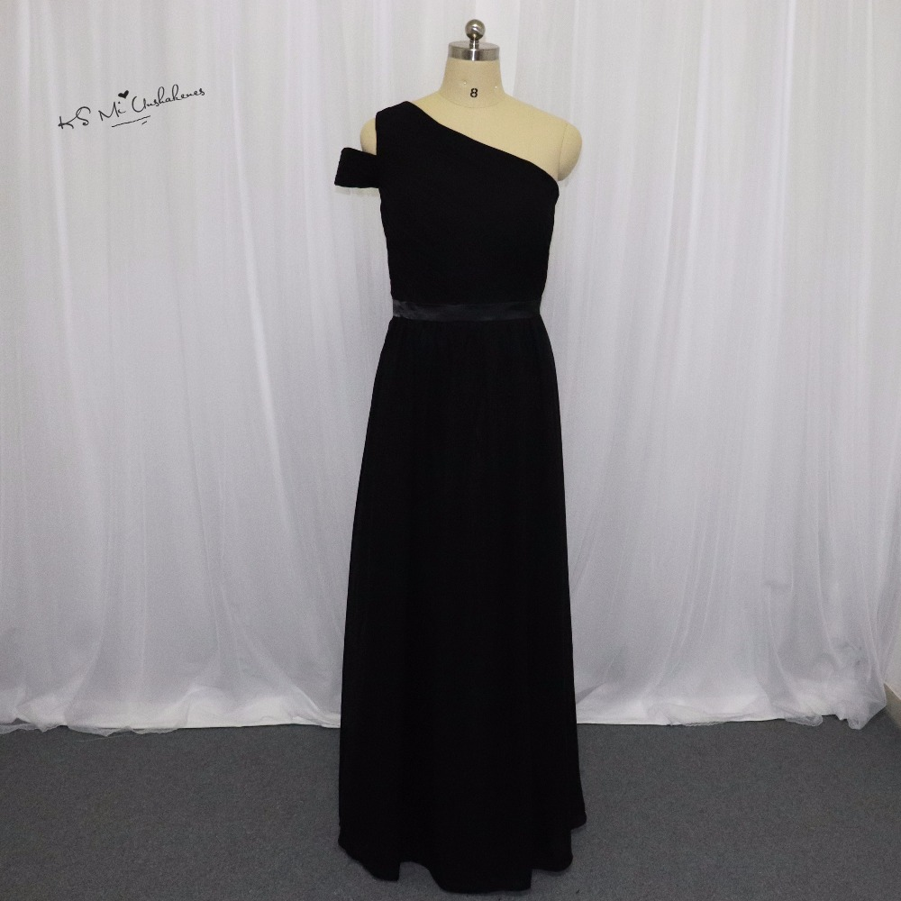 Vestido de Festa de Casamento Plus Size Black Long   Bridesmaid     Dress   one Shoulder Chiffon Wedding Party   Dresses   Floor Length
