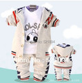 Clearance boys spring-autumn cartoon dog clothing sets 3pcs kids apparel boys clothes sets kids jacket coat free shipping