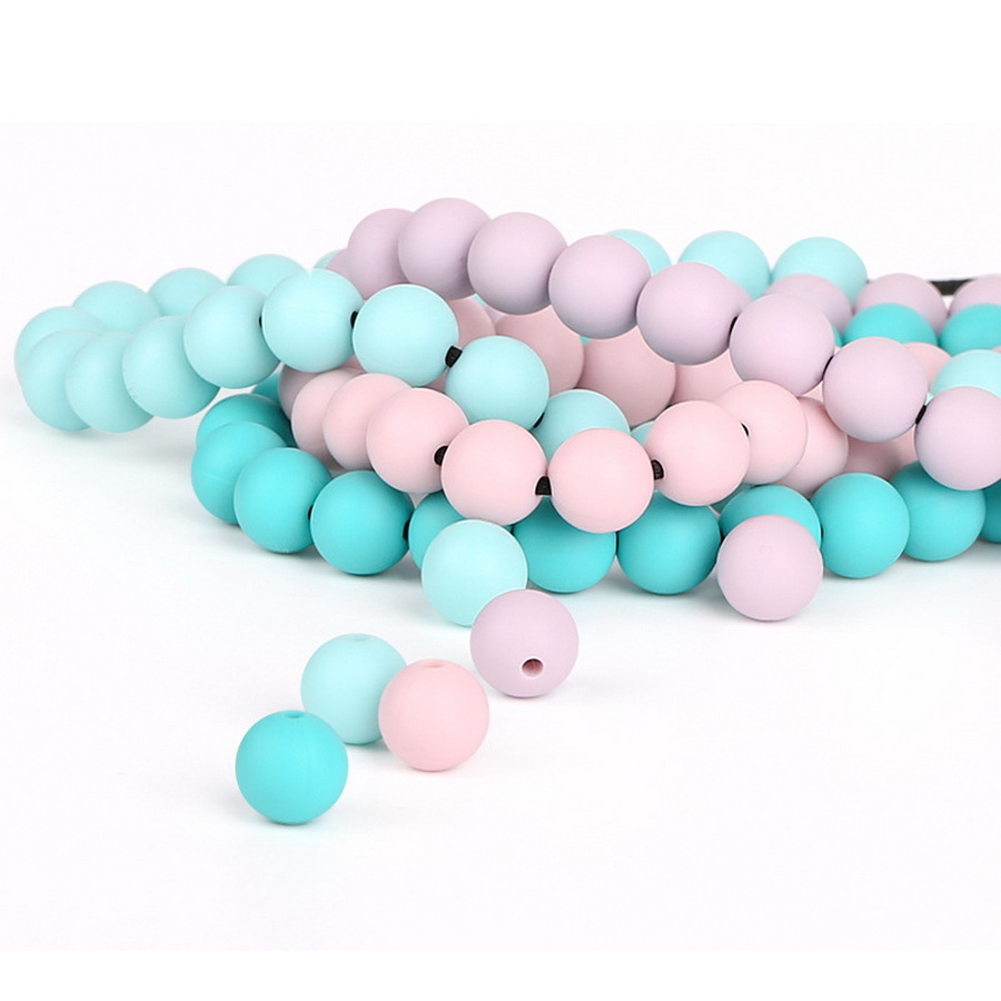 DHL 20bag 100Pcs/bag 12mm Silicone Beads BPA Free Round Beads Baby Chewable Teether Pacifier Clips Toy Food Grade Baby Teether
