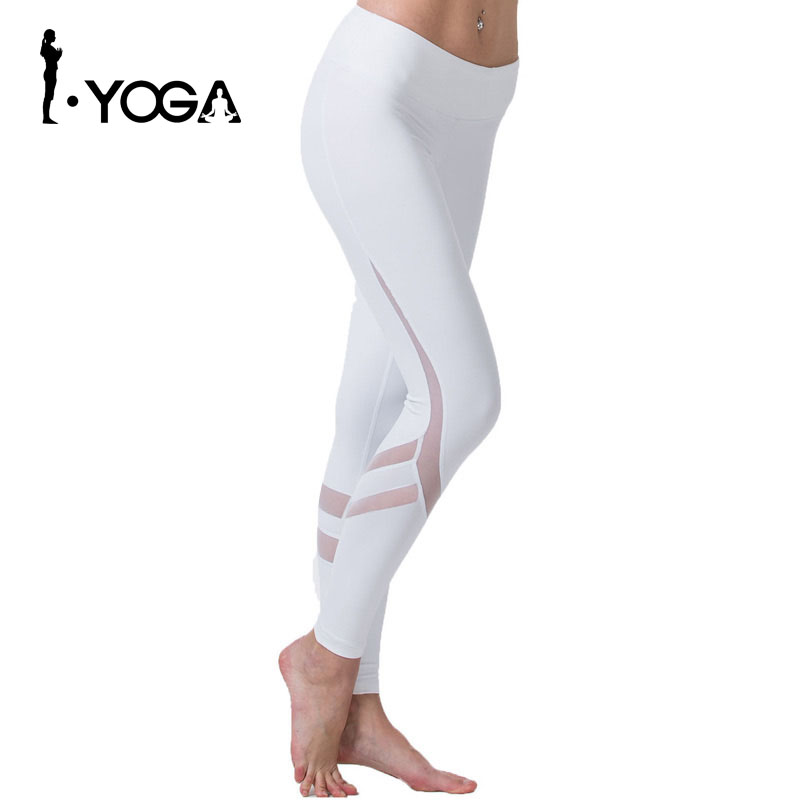 Fitness Yoga Sports Leggings For Women Sports Tight Mesh Yoga Leggings Yoga Pants Women Running Pants Tights for Women K9-002 2017 women s yoga pants workout capri leggings running tights side pockets functional pattern patchwork sports leggings jnc2315