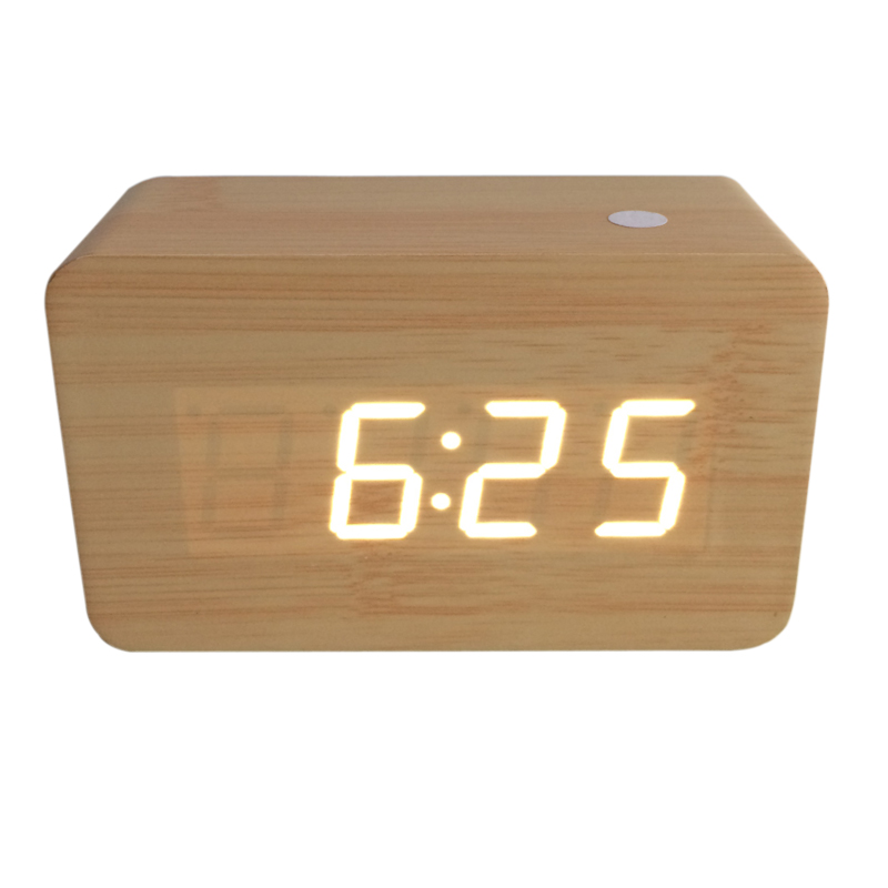 2019 Mini sound control Alarm Clocks Thermometer Wooden clocks,Calendar,LED display Clock,digital clocks O09UQAB