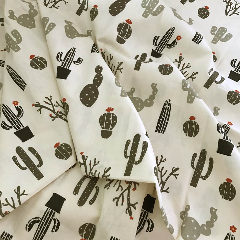 100 cotton twill fabric textile cartoon gray cactus for for Kids apparel fabric
