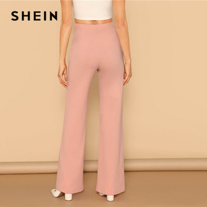 Image 3 - SHEIN Pink Elastic High Waist Straight Leg Solid Long Pants Women Trousers Office Lady Spring Elegant Workwear Wide Leg Pants