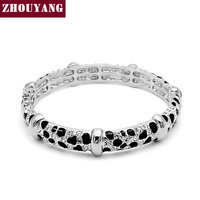 ZYB027 Leopard Printing 18K Platinum Plated Bangle Jewelry Made With Genuine SWA Elements Austrian Crystals Wholesale