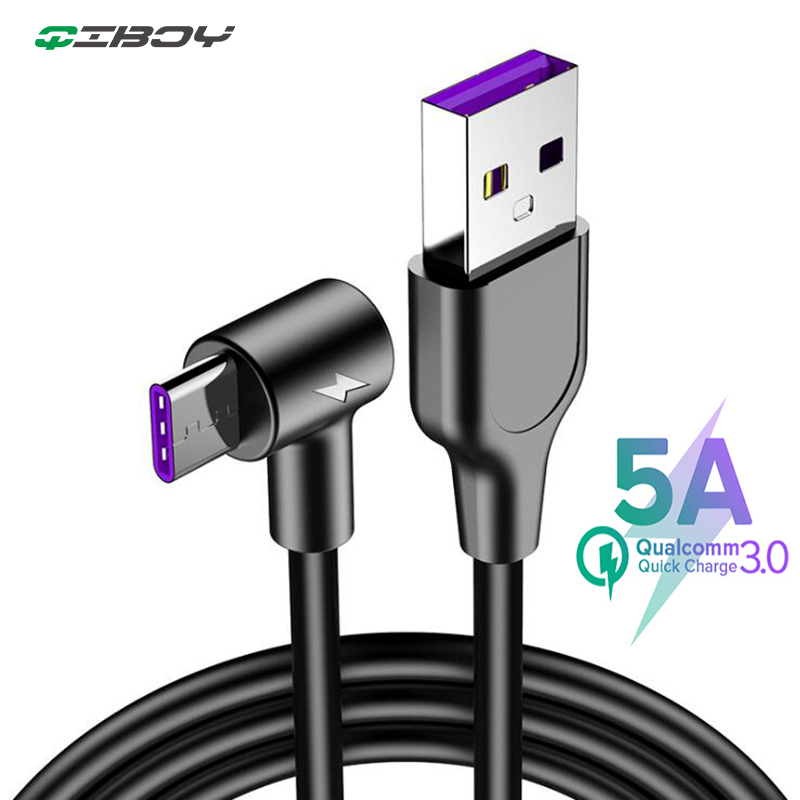 5A <font><b>Supercharge</b></font> USB Type C Cable 90 Degree Fast Charging For <font><b>Huawei</b></font> P30 Mate 20 Pro Samsung S10 S9 Charger Usb-C Data Type-C Cord image