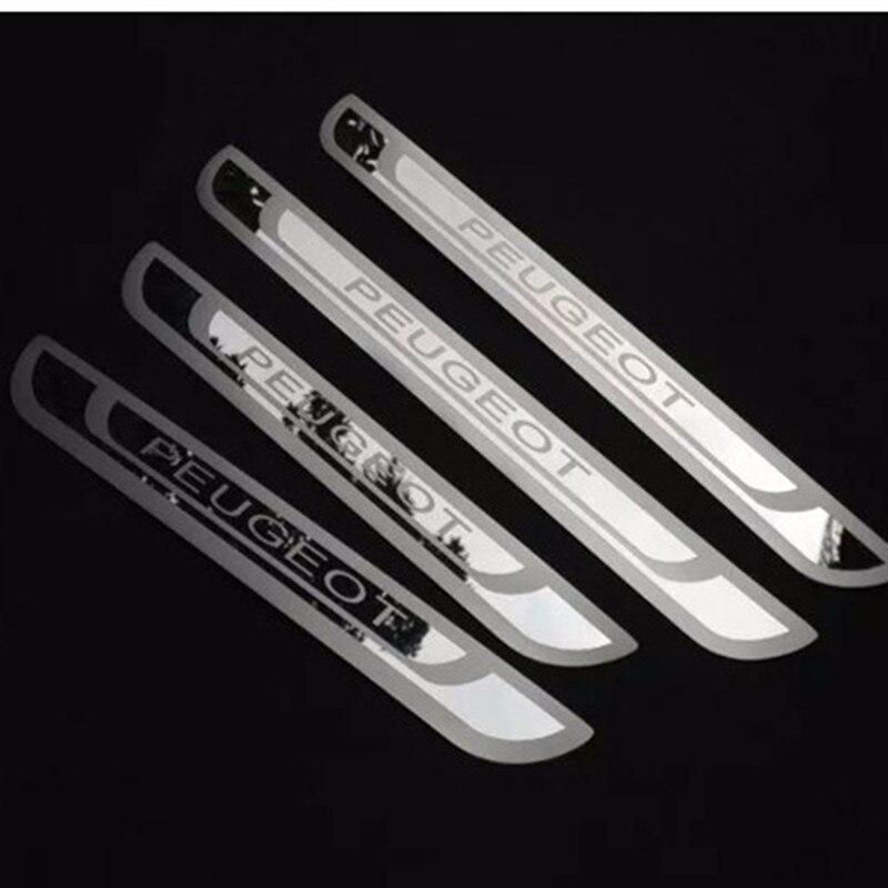 Nuevos adornos de la cubierta de los alféizares de la puerta de acero inoxidable de Peugeot para Peugeot 308 408 508 3008 2008 301 307