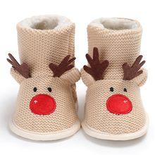 c2e9355a8 2019 Рождественский олень зима теплая для новорожденных Красивая обувь  первые ходоки обувь для мальчика свитера сапоги для От 0 .