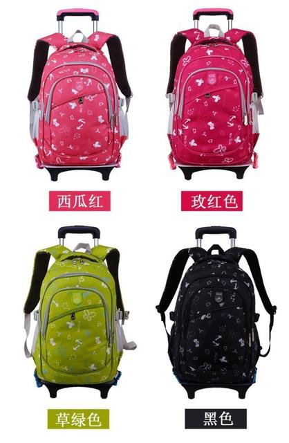 Lovely Erflies Printing Trolley School Bags For Children Large Capacity Wheeled Backpacks Rolling Book Mochila