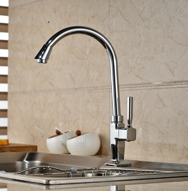 Cheapest Chrome Brass Kitchen Faucet Single Handle Hole Cold Water Faucet Single Handle Hole Sink Tap