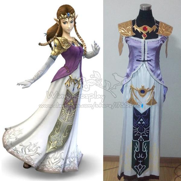 Anime the legend of zelda costume cosplay princess zelda for Legend of zelda wedding dress