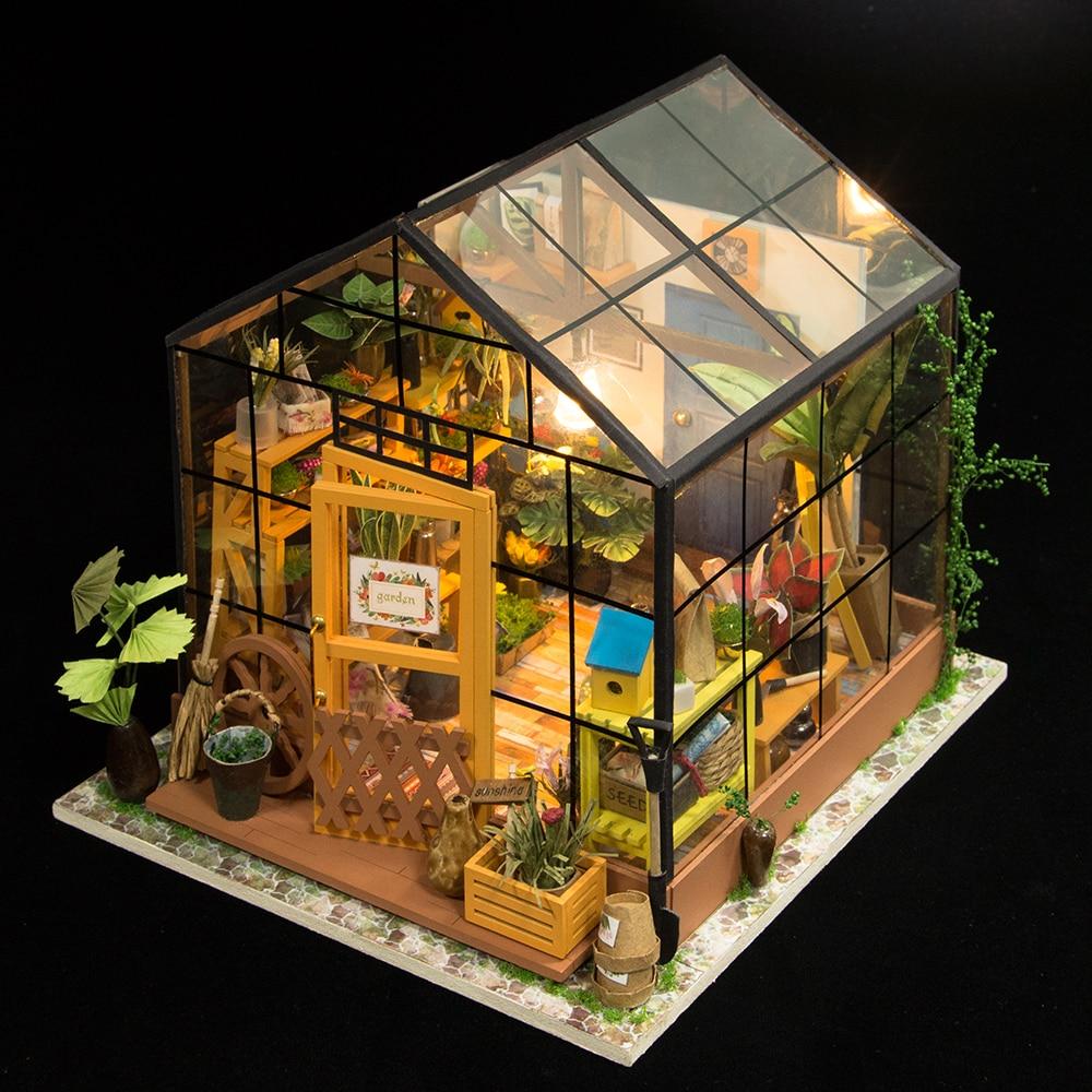 Robotime Miniature Maison de Poupée DIY de Kathy Vert Jardin avec Meubles Enfants Adulte Modèle de Construction Kits Dollhouse DG104