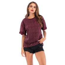 YYFS Women Fashion Leopard Panel Top Batwing Sleeve O-Neck Casual T Shirt Women 2019 Summer Leisure Short Sleeve T-shirt Tops contrast panel batwing sleeve tee