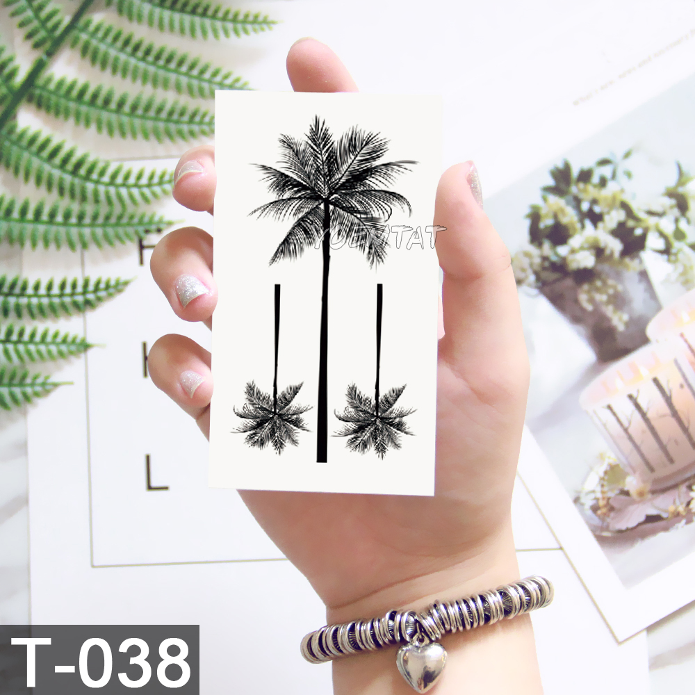 Waterproof World Map Temporary Tattoo Sticker Women Coconut tree planet pattern Body Art New Design Fake Men Tattoos 3
