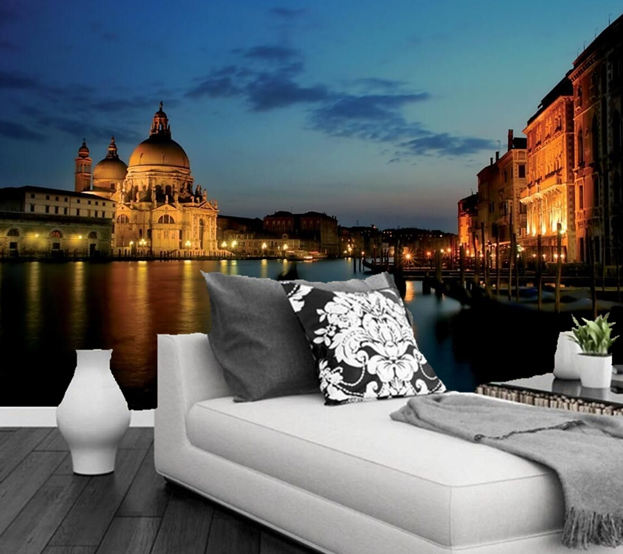Custom scenery mural,Italy Night Canal city wallpapers,hotel room restaurant bar living room tv wall bedroom 3d wallpaper free shipping living room bedroom office traditional magic chinese dragon wallpaper ktv bar restaurant hotel wallpaper mural