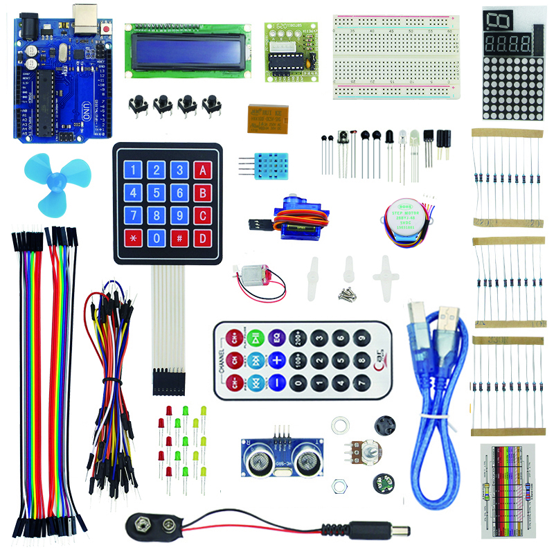 New Starter kit for DIY - 9G Server / Motor / Sensors / 1602 LCD / Jumper Wires / Resistors for UNO R3 full starter kit for step motor servo 1602 lcd 74hc595 resistor breadboard jumper wire for uno r3 raspberry pi 3