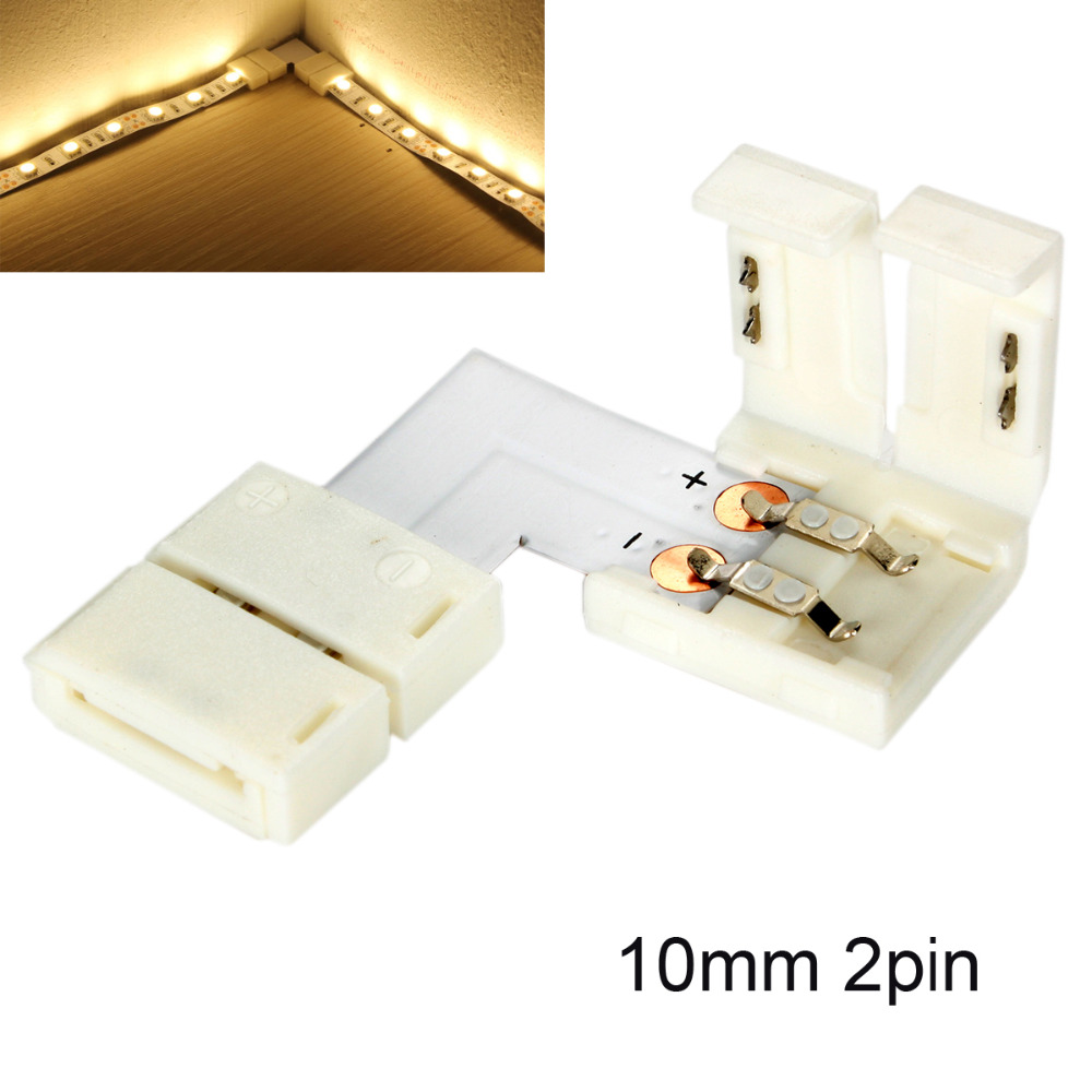 5/10PCS L-Shaped Single Color <font><b>LED</b></font> <font><b>Strip</b></font> 10mm <font><b>2</b></font>-<font><b>Pin</b></font> Corner Junction Clip <font><b>Connector</b></font> Solderless Cable Splitter Right Angle image