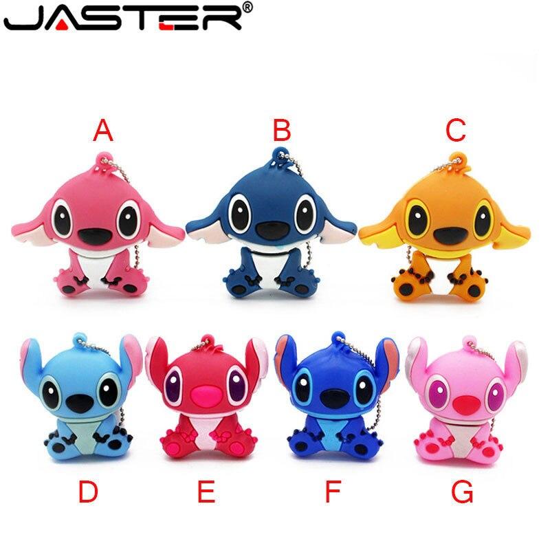JASTER Genuine New Cartoon Blue Stitch Model Usb Flash Drive Usb 2.0 Memory Stick Pendriver Thumb Stick Gift Lovely Mini