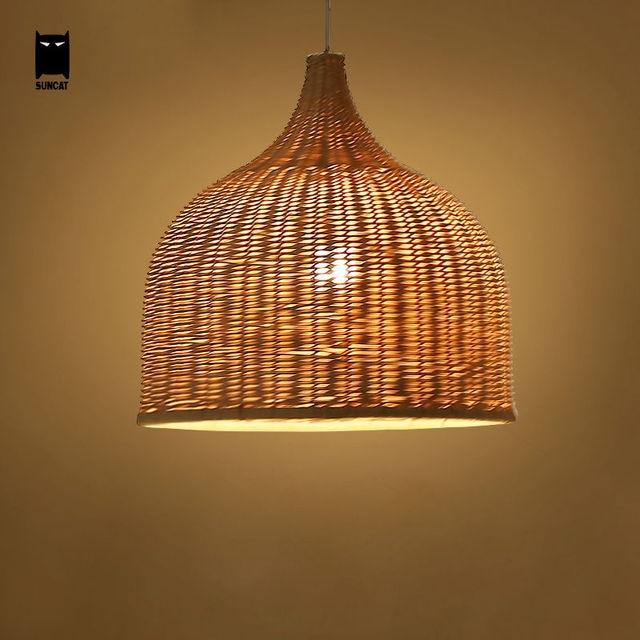 Bamboo Wicker Rattan Shade Pendant Lights Fixture Rustic ...