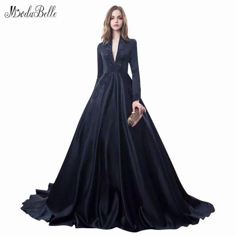modabelle Navy Blue Gothic   Evening     Dresses   Abendkleider Dubai A-line Deep V-neck African Arabic Formal Plus Size   Evening     Dresses