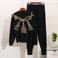Autumn Winter Women Set Beading Long sleeve Knitted Sweater+Trousers Two Piece Casual Pants Suit Tracksuits Pullover Tops 2pcs