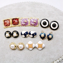 Free Shipping Round Square Earring Multi-Colors European Geometry