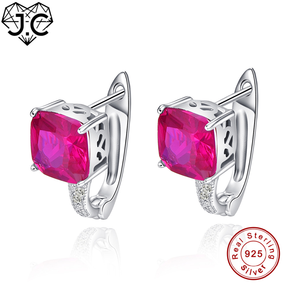 J.C Brilliant Ruby & White Topaz Luxury Real 925 Sterling Silver Earrings Fine Jewelry for Women/Lover Anniversary Earrings