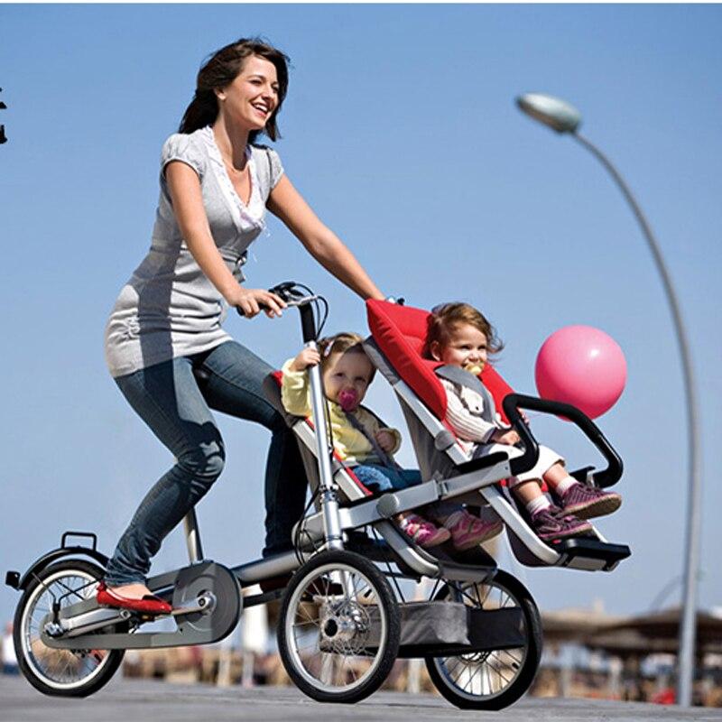 Vélo pliant 3 roues pour 1 adulte et jumeaux bébé, vélo Parent-enfant, 2 en 1 bébé poussette vélo, 4 Modes gratuit Convertible