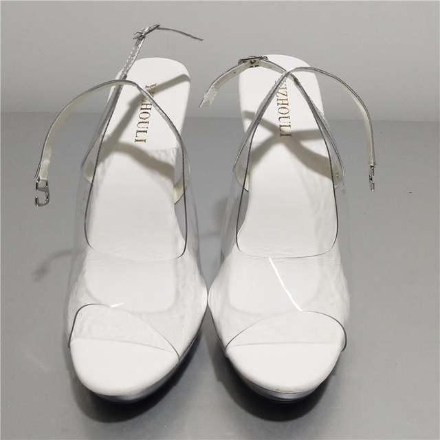 df09c64e3d3 placeholder Elegant Full Clear 13cm Super High Heel Shoes Platform Sandals