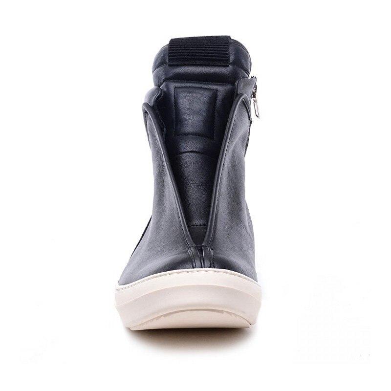 Hommes chaussures haut de gamme cheville baskets de luxe en cuir véritable hommes bottes mode noir rue Hip Hop chaussures Designer bottes - 5