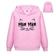 Hoodies Girls Sweatshirt Pullover MEW Long-Sleeve Kids Boys PINK Cat Winter Autumn Thin