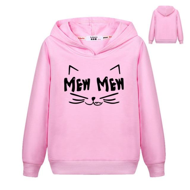 Autumn Winter Ear Cat MEW Harajuku PINK Pullover Hoodies Girls Hooded Sweatshirt Long Sleeve Thin Basic Top for Kids Boys
