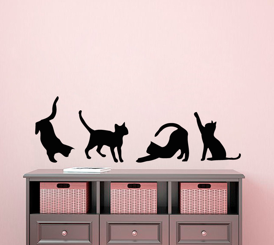 Four Cats Silhouettes Art Wall Sticker Small Pattern Art Wall Decals Cute Cats Special Designed Wall Murals Vinyl Poster Wm 456-in Wall Stickers from Home ... & Four Cats Silhouettes Art Wall Sticker Small Pattern Art Wall Decals ...