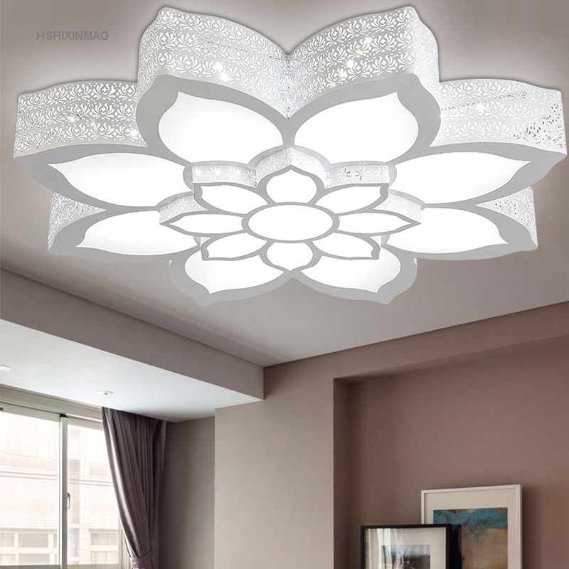 LED lotus fleur forme plafonnier salon chambre étude lampe commercial bureau espace plafonniers AC110-240V