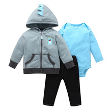 Erkek bebek kıyafet 2020 sonbahar giysileri uzun kollu şerit kapüşonlu ceket + bodysuit + pantolon yenidoğan kız seti yeni doğan giyim moda