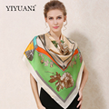 100% Natural Silk Square Scarves Flower Printed Women Scarf Shawl 110 x 110 Upscale Sunscreen Female Neckerchief Shawls FJ110HD