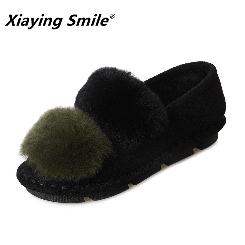 Xiaying Smile Women Snow Flats New Arrive Women Fashion Casual Keep Warm Short Plush Shoes Popular