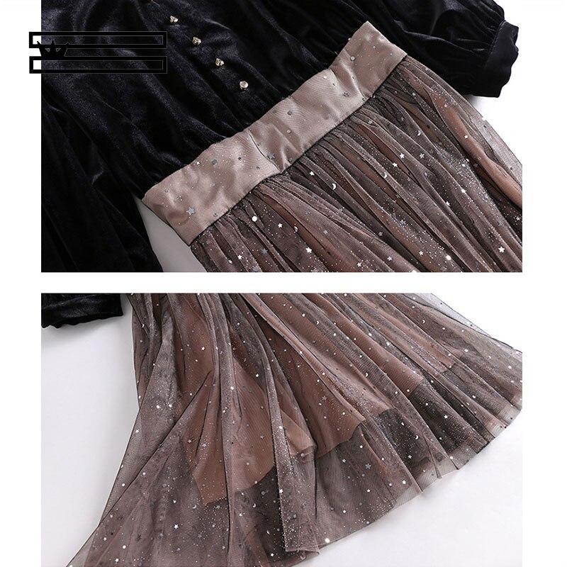 Briques Mode Nouvelles Hei Shuanggun Robe Printemps Et Une Noir D'été Avec De pièce Femmes Maille 2019 Évêque Manches xt8YqawTt