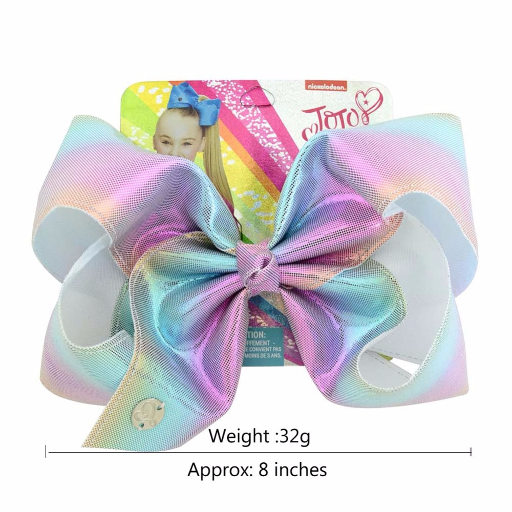 "1 piece 8"" JoJo Clip Glitter Rainbow Leather Mermaid Bow With Alligator Clips Kids Bling Hair Accessories Hairpins Barrettes(China)"