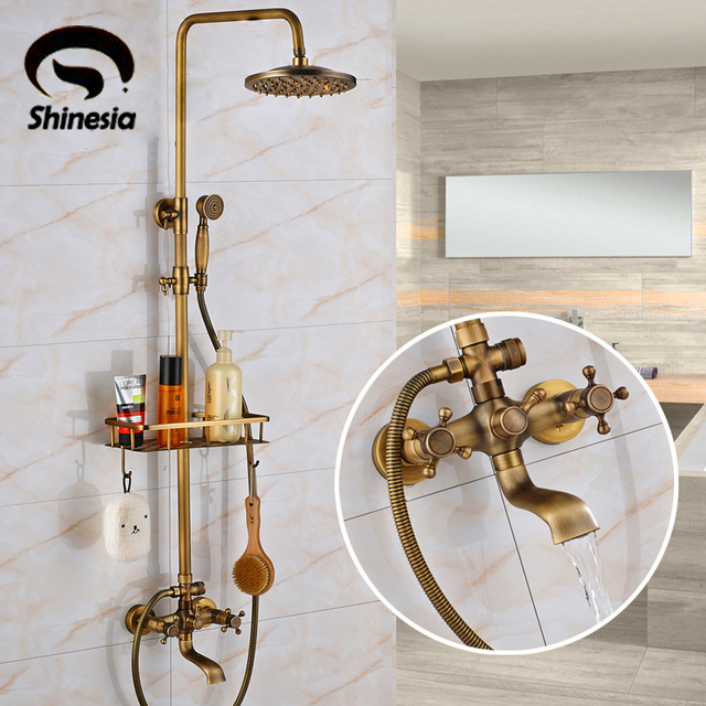"Antique Brass Bathroom Shower Set Faucet With Commodity Shelf And Hangers Mixer Tap 8"" Rainfall head Dual Handles Wall Mounted"