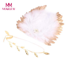 Newborn Infant Baby Cute Angel Feather Wings Photo Photography Props Leaves Headband Baby Hair Band Fotografia Accessories