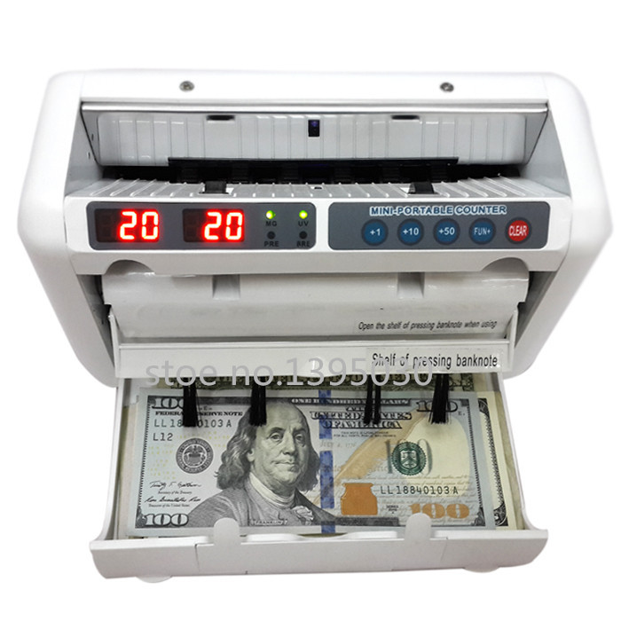 1pc 110V/220V Money Counter Suitable for EURO US DOLLAR etc. Multi-Currency Compatible Bill Counter Cash Counting Machine WJD-