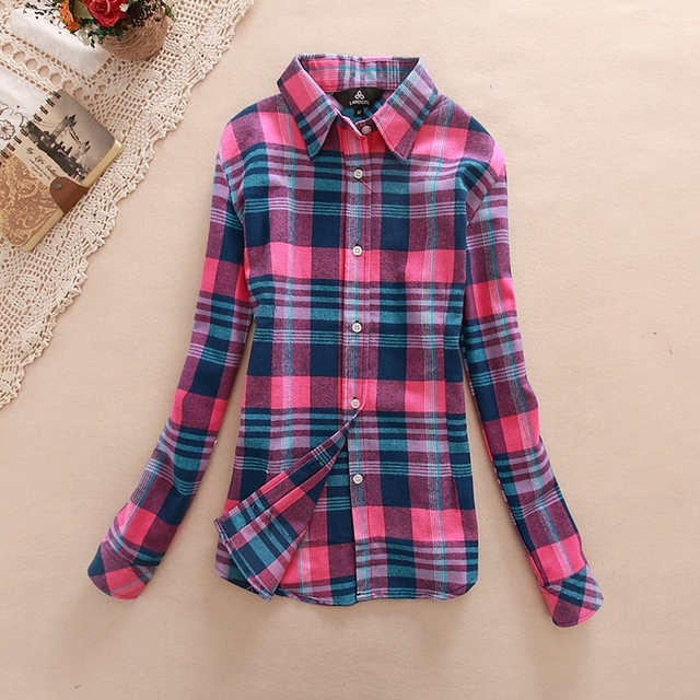 Women Shirt Blouses Plus Size 2018 Hot New Spring Flannel Cotton Long Sleeve Plaid Shirt Casual Female Loose College Style Tops
