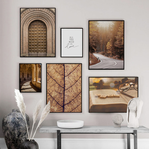 Image 2 - Morocco Door Forest Road Leaves Landscape Wall Art Canvas Painting Nordic Posters And Prints Wall Pictures For Living Room Decor