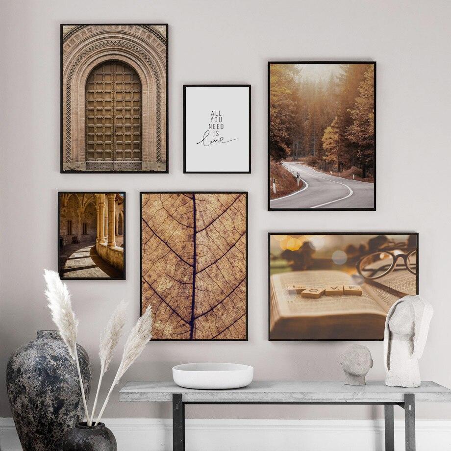 Image 2 - Morocco дверь лес дорога листья Настенная картина с ландшафтом холст живопись плакаты на скандинавскую тему и принты настенные картины для декора гостиной-in Рисование и каллиграфия from Дом и животные