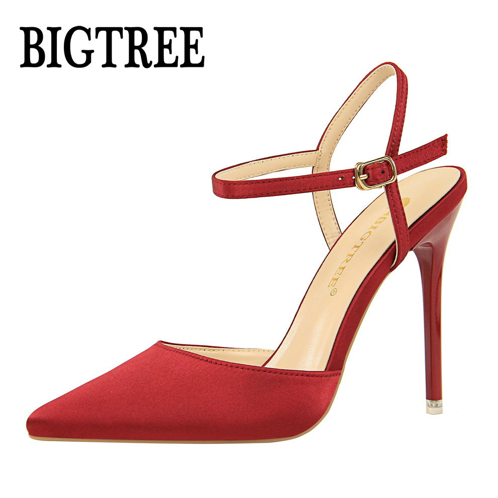 BIGTREE women Pointed Toe High heels shoes woman shallow slingback pumps ladies Buckle Strap Party Wedding stilettos shoes 86 -2 aidocrystal silver color open toe pumps ladies high heels wedding party crystal slingback shoes with matching bag