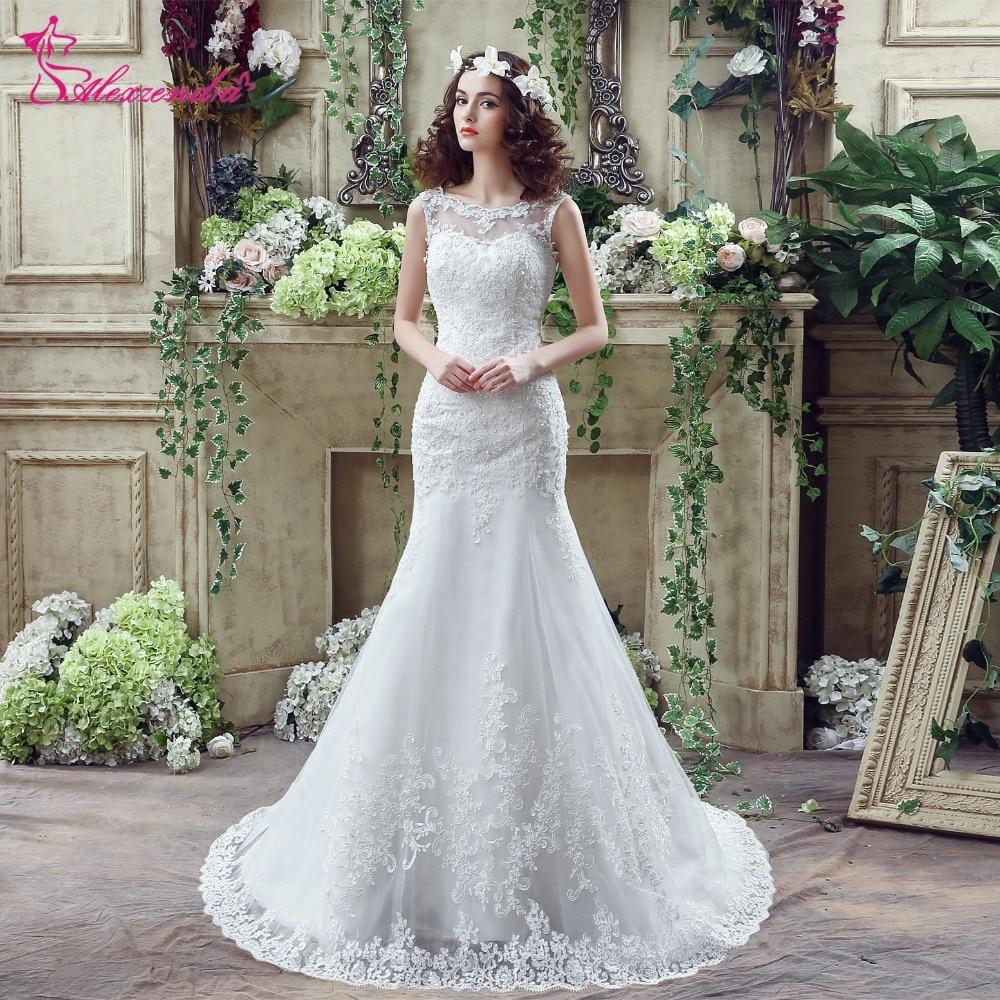 Wedding Dress Illusion Back: Aliexpress.com : Buy Alexzendra Stock Dresses Scoop