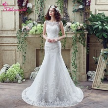 Alexzendra Stock vestidos Scoop escote V espalda sirena vestido de novia Illusion encaje elegantes vestidos de novia listo para enviar