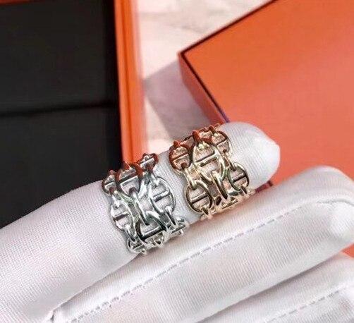 Célèbre marque bijoux ajuster la taille lettre anneau serrure anneau conception pour les femmes rose or argent couleur réel argent femme bijoux