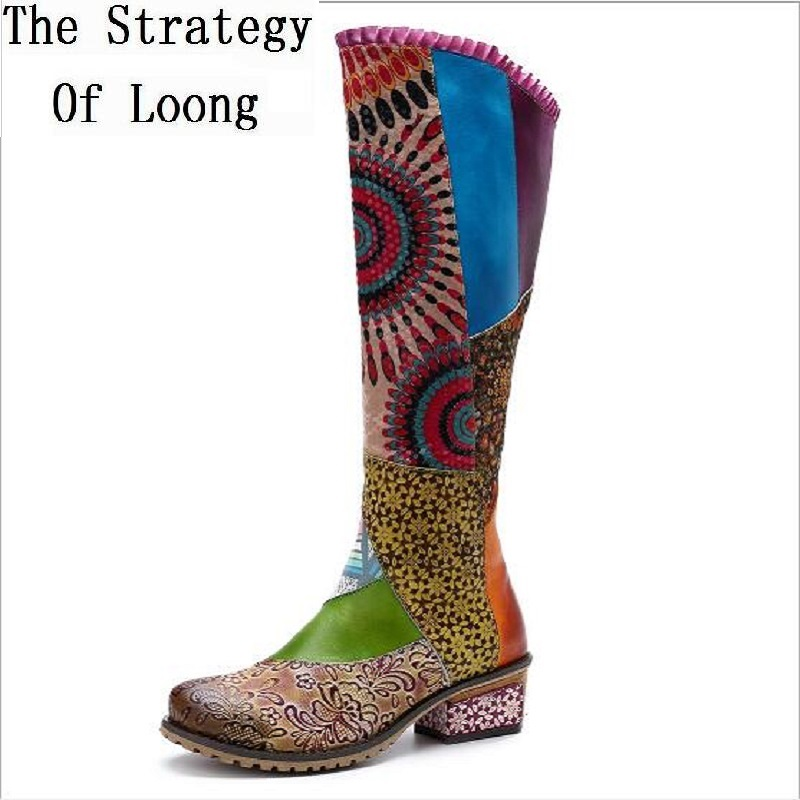New Casual Retro National Style Genuine Leather Women Boots Mixed Colors Knee High Height Flower Plus